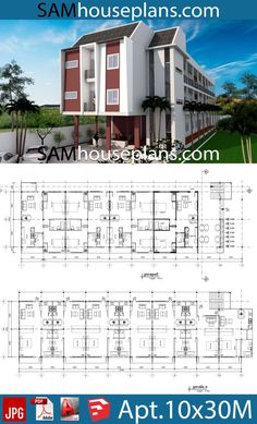 Apartment Plans with 18 Units - Sam House Plans Town House Floor Plan, Hotel Floor Plan, Autocad, House Layout Plans, My House Plans, Apartment Floor Plans, Hotel Apartment, Modern Bungalow Exterior, Hotel Bedroom Design