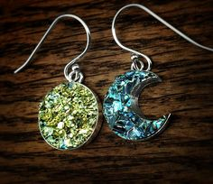 Bismuth Crystal Sun and Moon Earrings 1/2 inch Sterling Silver Bezels and Hooks…
