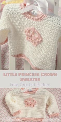Crochet Baby Girl Little Prince - Crochet Crown Sweater Free Pattern - beautiful royal pattern for baby girl Crochet Baby Jacket, Crochet Baby Sweaters, Baby Girl Sweaters, Crochet Baby Clothes, Crochet Cardigan, Baby Knitting, Start Knitting, Knitting Sweaters, Free Knitting