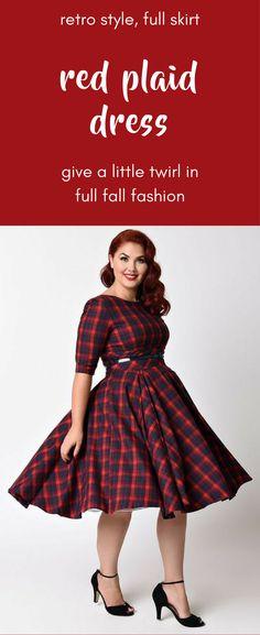 Plus Size Vintage Style Red & Navy Blue Tartan Plaid | Available Sizes: UK 18 ,UK 20 ,UK 22
