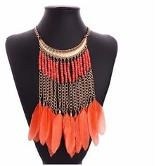 Orange necklace Beautiful orange feather tassel golden tone chain seed breads statement necklace Jewelry Necklaces