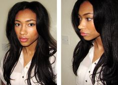 Pin curls on straightened relaxed hair