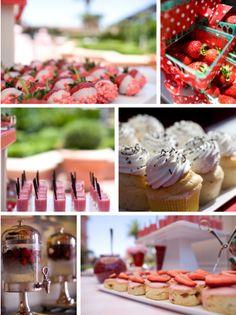 strawberry dessert buffet table inspiration board