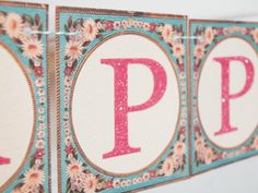 Printable vintage alphabet cards for Mother's Day. Spell out mom's name for a lovely gift.