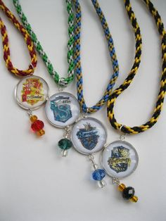 Items similar to Wizard School inspired Magic Pendant Necklace with Czech glass beads and hand woven satin cord on Etsy Slytherin, Hogwarts, Harry Potter Accessories, Wizard School, Beaded Necklace, Pendant Necklace, Czech Glass Beads, Cord, Hand Weaving