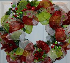 Christmas Holiday Deco Mesh Wreath