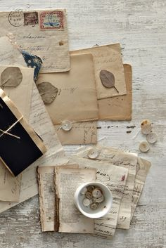 Old letters/pages and collected things.