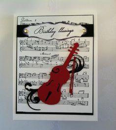Birthday card for a musician using Cricut's Quarter Note cartridge