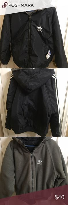 Adidas reversible puffer jacket Two jackets in one is in really good condition the reversible side is fleece so it has gotten a little fuzzy. NO TRADES Adidas Jackets & Coats Puffers