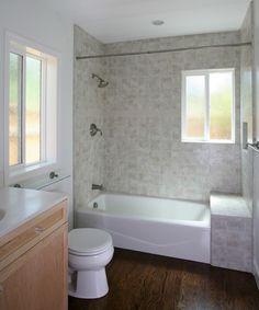 Hardwood floor in bathroom