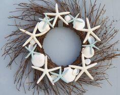Beach Wreath Coastal Wreath Seashell Wreath by ThePaintedPearlSRQ