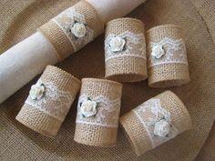Items similar to Burlap Napkin Rings, Rustic Napkin Rings, Burlap & Lace Napkin Rings, Rose Napkin Rings, set of on Etsy Basteln Rustic Napkin Rings, Rustic Napkins, Diy Napkin Rings, Serviettes Roses, Deco Champetre, Selling Handmade Items, Etsy Handmade, Burlap Projects, Burlap Lace