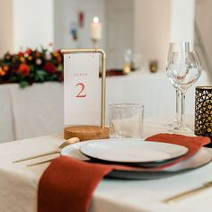Modern table numbers for an elegant wedding dinner reception