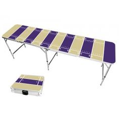 Gold & Purple Football Field 8 Foot Portable Folding Tailgate Beer Pong Table from TailgateGiant.com
