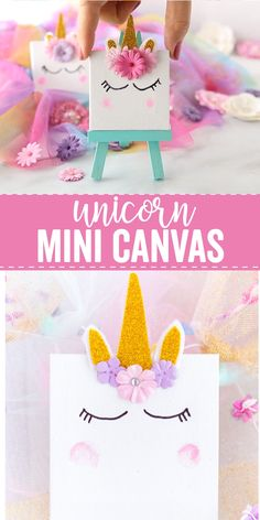 This Unicorn Mini Canvas is the perfect unicorn craft for kids. It's a fun and simple DIY they can have fun creating and showcase in their room. video for teens Unicorn Mini Canvas Diy Crafts For Girls, Fun Diy Crafts, Diy For Kids, Kids Crafts, Paper Crafts, Canvas Crafts, Room Crafts, Cute Diy Crafts For Your Room, Craft Ideas For Girls