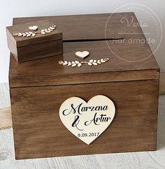 Rustykalny komplet - pudełko na obrączki oraz skrzynia na telegramy
