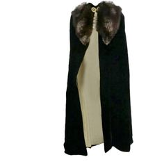 30s Black Silk Velvet Opera Cape w/ Removable Fox Fur Collar at... ❤ liked on Polyvore featuring outerwear, cape, cloaks, jackets, coats, velvet cape, velvet cloak, cloak cape, cape cloak and cape coat
