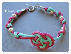 Double Coin Knot Bracelet made wih Chinese knotting cord and silver beads  #ACBEADS