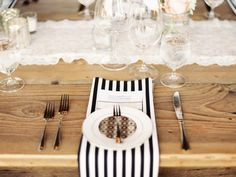 #place-settings, #stripes  Photography: Erich McVey Photography - erichmcvey.com Coordination: Luxe Event Productions - LuxeProductionsNW.com Floral Design: Vibrant Table - vibranttable.com  Read More: http://www.stylemepretty.com/2013/03/28/oregon-wedding-from-erich-mcvey-photography/