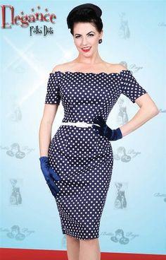Bettie Page Pin Up Navy Blue White Polka Dot Scalloped Elegance Pencil Dress L | eBay