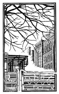 "Echlin Street"""" ....lino print by Red Boy Prints 2015 ©"