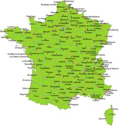 Although people think of Paris when they think of France, France has many many cities including high populated city areas similar to France. This maps shows the many cities and provides information on population in the most popular places. France City, France Map, South Of France, France Travel, Paris France, France Info, Visit France, France Geography, Belle France