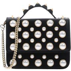Salar Handbag ($495) ❤ liked on Polyvore featuring bags, handbags, black, studded purse, genuine leather purse, mini leather handbags, handbag purse and beaded purse