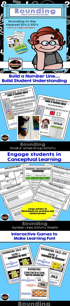 Rounding can be a challenging skill.  Do your students need additional resources?  Check out this 100+ page rounding bundle. Fun math games and practice worksheets included. $