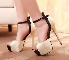 Womens Sexy Peep Toe Ankle Strap Platform Stiletto High Heels