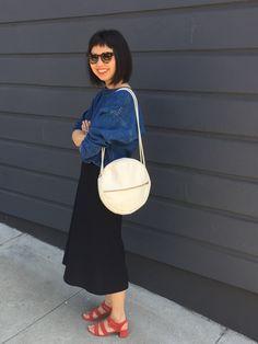 a7b4f3f4 caron callahan mira top, vintage chanel skirt, marais jardin heel in  cherry,lotfi serus bag