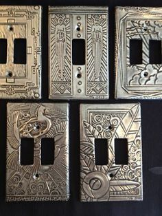 at The Pewter Room by Joanne - light switch covers . Aluminum Foil Art, Aluminum Can Crafts, Metal Crafts, Tin Foil Art, Metal Projects, Tin Can Art, Tin Art, Soda Can Art, Pewter Art