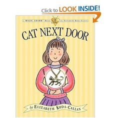 In order to prove to her mother that she is responsible enough to have a cat, a little girl befriends the silver tabby who lives next door in a work that is accompanied by a real cat necklace.