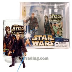 Star Wars Year 2004 Attack of the Clones Series 4 Inch Tall Figure Set - ANAKIN SKYWALKER with Blue Lightsaber Plus Collectible Cup