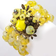 Hattie Carnegie Lemon Poured Glass and Filigree Flower Clusters Multi Stranded Bracelet, 1950's
