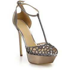 Sergio Rossi Tresor Swarovski Crystal & Mirrored Leather Platform... (1,915 BAM) ❤ liked on Polyvore featuring shoes, sandals, heels, sapatos, apparel & accessories, gold, ankle strap high heel sandals, ankle tie sandals, high heel shoes and platform shoes