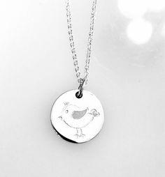 Kette zu Taufe mit Anhänger aus Silber mit kleinem Vogel