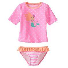 Jumping Beans® Mermaid 2-pc. Rash Guard Swimsuit Set - Girls 4-7