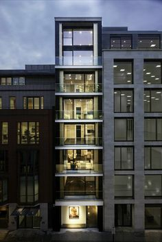 Built by Squire and Partners in London, United Kingdom with date Images by Gareth Gardner. Squire and Partners has completed a slender apartment building on London's Hanover Street, featuring full height besp. Baroque Architecture, Facade Architecture, Residential Architecture, Contemporary Architecture, Minimalist Architecture, Landscape Architecture, Building Exterior, Building Facade, Building Design