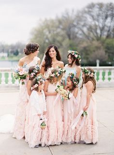 Can you believe there were 5 flower girls and 5 ring bearers! http://www.stylemepretty.com/2016/08/05/downtown-cleveland-pastel-city-wedding/ | Photography: Lauren Gabrielle - http://laurengabrielle.com/