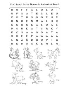 Word Search Puzzle Domestic Animals 1 | Download Free Word Search Puzzle Domestic Animals 1 for kids | Best Coloring Pages
