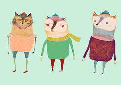 The Cats. Art Print by Ashley Percival Illustrator   Society6