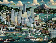 Dowdle Folk Art. Seattle Print
