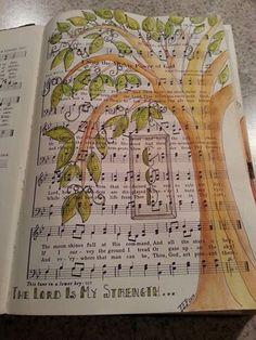 hymnbook turned art journal