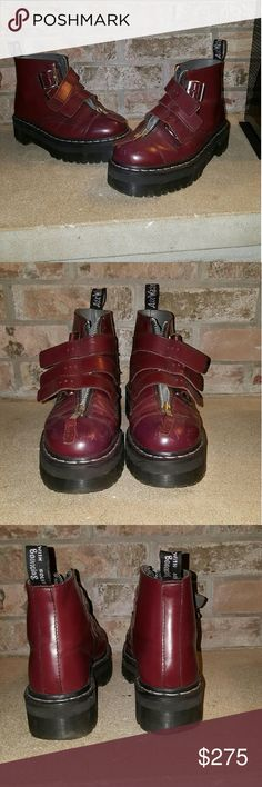 """RARE & DISCONTINUED - AGGY STRAP DOC MARTENS The Baddest of all the Punk Girls - The RARE & DISCONTINUED Agyness Deyn Aggy Strap Doc Martens!!! In the """"Cherry"""" shade. These bad boys have been discontinued and are nearly impossible to come by! They have been worn and pre-loved, so there is some scuffing and wear. I love the wear, I think it pulls together the ultimate grunge look. All zippers and buckles work. These pretty babies are a UK size 5, and US size 7. (However I wear a size 8 in US…"""