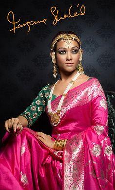 makeup and katan saree n blouse.