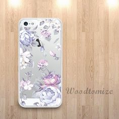 Purple flower transparent phone case for iPhone 6 by Woodtomize