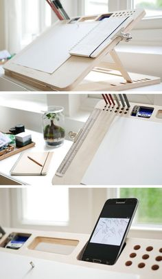 Woodworking Projects My Drawing Board - ergonomic, adjustable, art board with organizational features. Drawing Desk, Drawing Board, Drawing Tables, Drawing Rooms, Drawings, Bureau D'art, Rangement Art, Wood Projects, Woodworking Projects