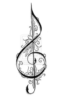 Treble clef by mossythoughts music illustration, treble clef art, treble clef tattoo, compass Music Tattoo Designs, Music Tattoos, Body Art Tattoos, Treble Clef Art, Treble Clef Tattoo, Compass Tattoo, Music Drawings, Pencil Art Drawings, Lena Tattoo