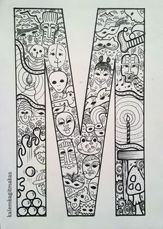 ZeYNeP'iN AtöLYeSi: ★HARF HARF BUYUKLERE BOYAMA Doodle Patterns, Zentangle Patterns, Coloring Letters, Last Unicorn, Alphabet Activities, Coloring Book Pages, Letters And Numbers, Paper Art, How To Draw Hands