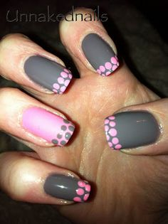 Pink and grey w/dots.
